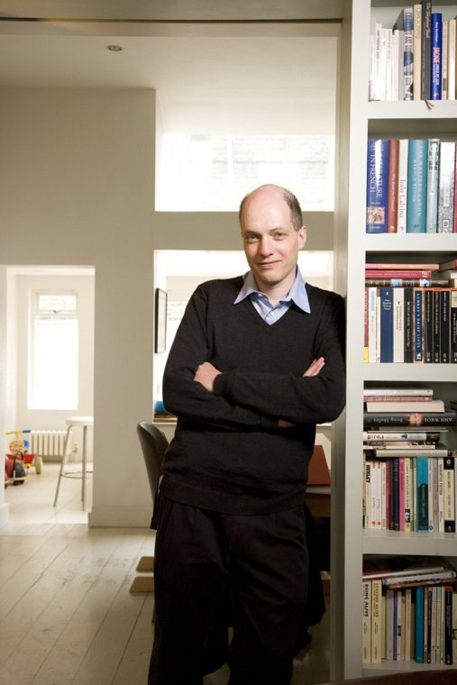 Here's a photo of Alain de Botton taken by Vincent Starr.  Photo 2 of 4 in A Week at the Airport: Part I