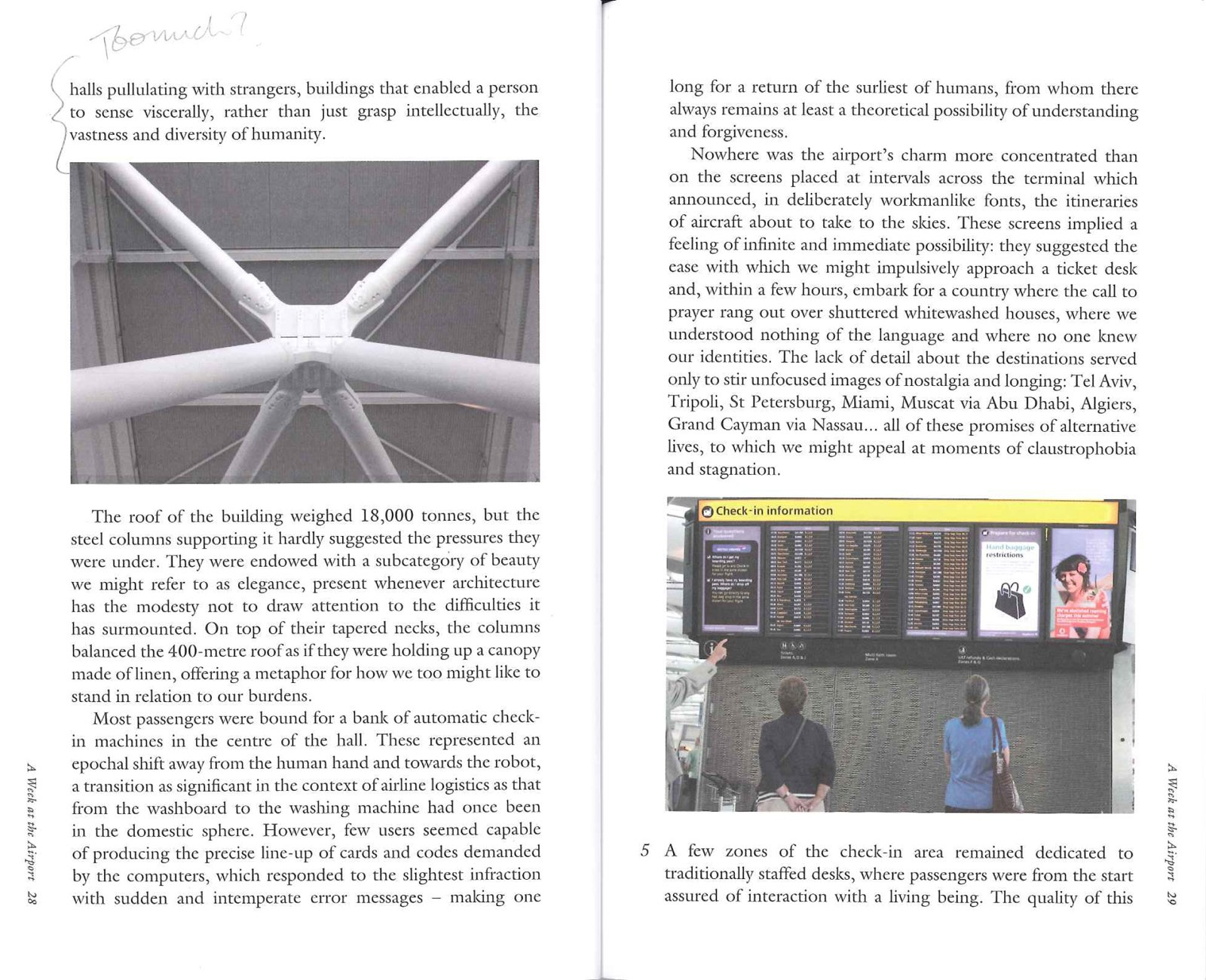 This spread from the book shows two points of interest to travelers: the stunning supports Richard Rogers designed to keep Terminal 5 up, and a list of gates for passengers. Photos by Richard Baker.  Photo 3 of 4 in A Week at the Airport: Part I