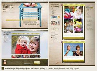Web designs for photographer Alexandra Nanny, by Texas Tech University Communication Design student Kelsey Whiteside.