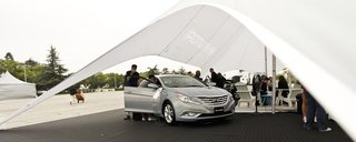 Hyundai offered several vehicles for guests to test-drive; both the 2011 Sonata and its competitors ( the Honda Accord and the Toyota Camry) were tested against each other to see which car delivered the best performance.