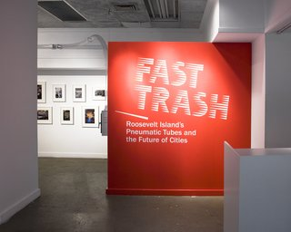 The firm's work also includes exhibition and logo design. They handled both for the exhibition 'Fast Trash,' which spotlights the pneumatic trash disposal system used on Roosevelt Island since 1975.