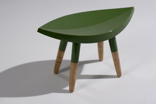 This little stool was made for milking, with maple legs and leafy seat.
