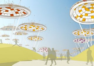 """Just as if they were living, breathing structures, the """"Desert Blooms"""" in this proposal are flora-inspired, gas-filled balloons (acting as solar concentrator devices) that follow the path of the sun during the day and lay down to rest at night; Visitors would see different alignments of the colorful floating structures depending on the time of day and season. With a total of 51 balloons covering the Desert Blooms site, the design would generate enough energy to power roughly 15,000 homes.<br><br>Design by: Jude D'Souza, Suprio Bhattacharjee, Vittal Sridharan, and Kush Patel (ETT Architects)"""