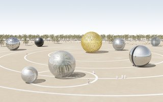 """A number of designs paid especially close attention to the ecological as well as cultural context of the United Arab Emirates-based installations. """"Solar ECO System,"""" for example, represents the exact planetary alignment of the solar system on December 2, 1971, the day that the UAE was founded. A different combination of photovoltaic panels would be used to construct each individual planet, which could also be used as pavilions for hosting public activities and events.<br><br>Design by: Antonio Maccà and Flavio Masi"""