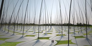 """""""Windstalk,"""" which won a second place mention from the jury, is a field of jumbo-sized, reed-like poles that collects kinetic energy from the blowing wind. Whether imagining huge hair follicles or towering blades of grass, the atmosphere will likely make visitors feel like they're in a scene from """"Honey I Shrunk the Kids.""""<br><br>Design by: Dario Núñez Ameni and Thomas Siegl, with Atelier dna"""