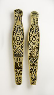 King and Queen Door Pulls, hand-cast brass with black mother-of-pearl inlay, Evelyn Ackerman, 1959.