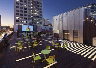 The rooftop of Austin's renovated Arthouse at the Jones Center features panoramic views of downtown Austin.