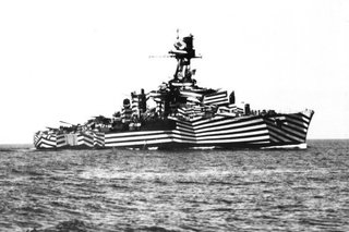 A WWII ship as seen on Dazzle Camouflage.