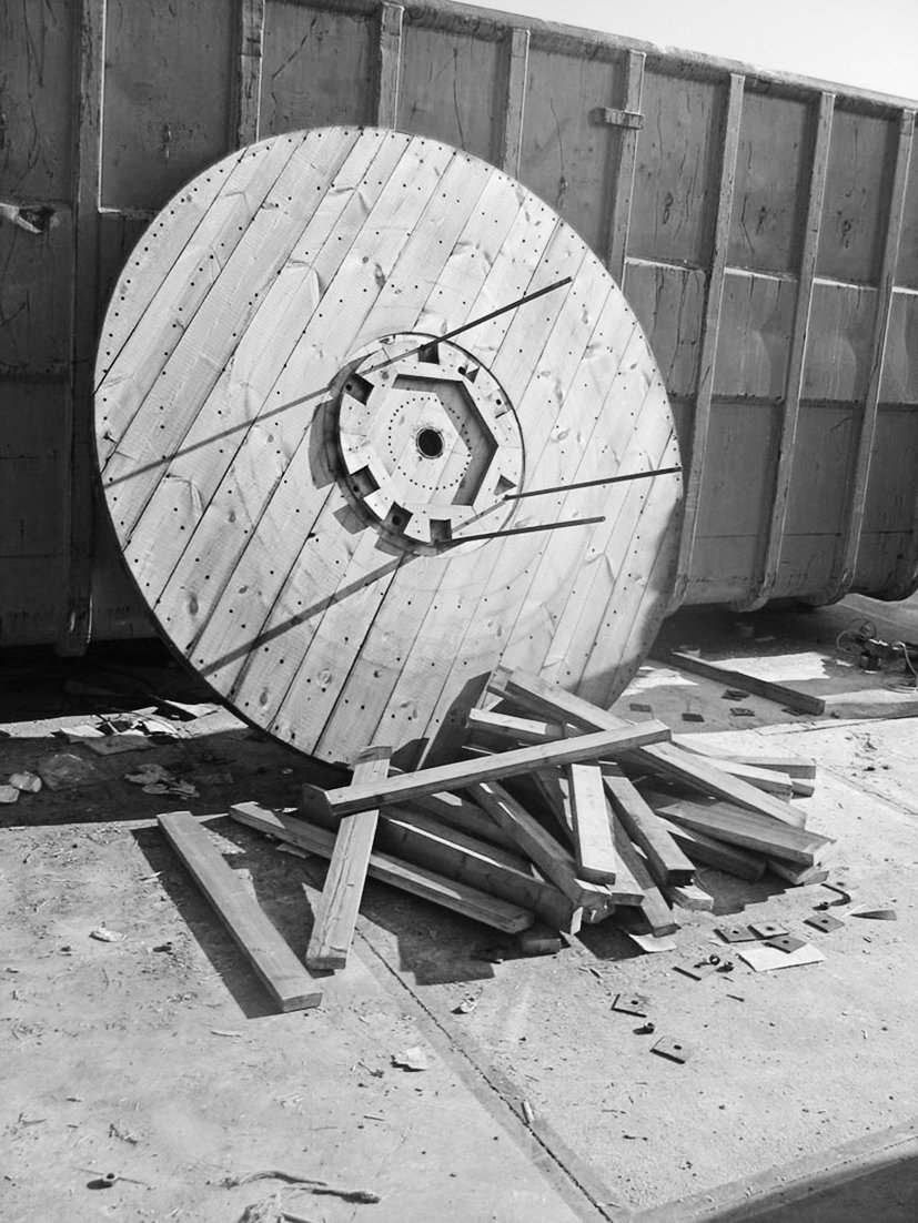 One of the original cable reels.  Photo 10 of 14 in This Home Takes Recycling to the Next Level
