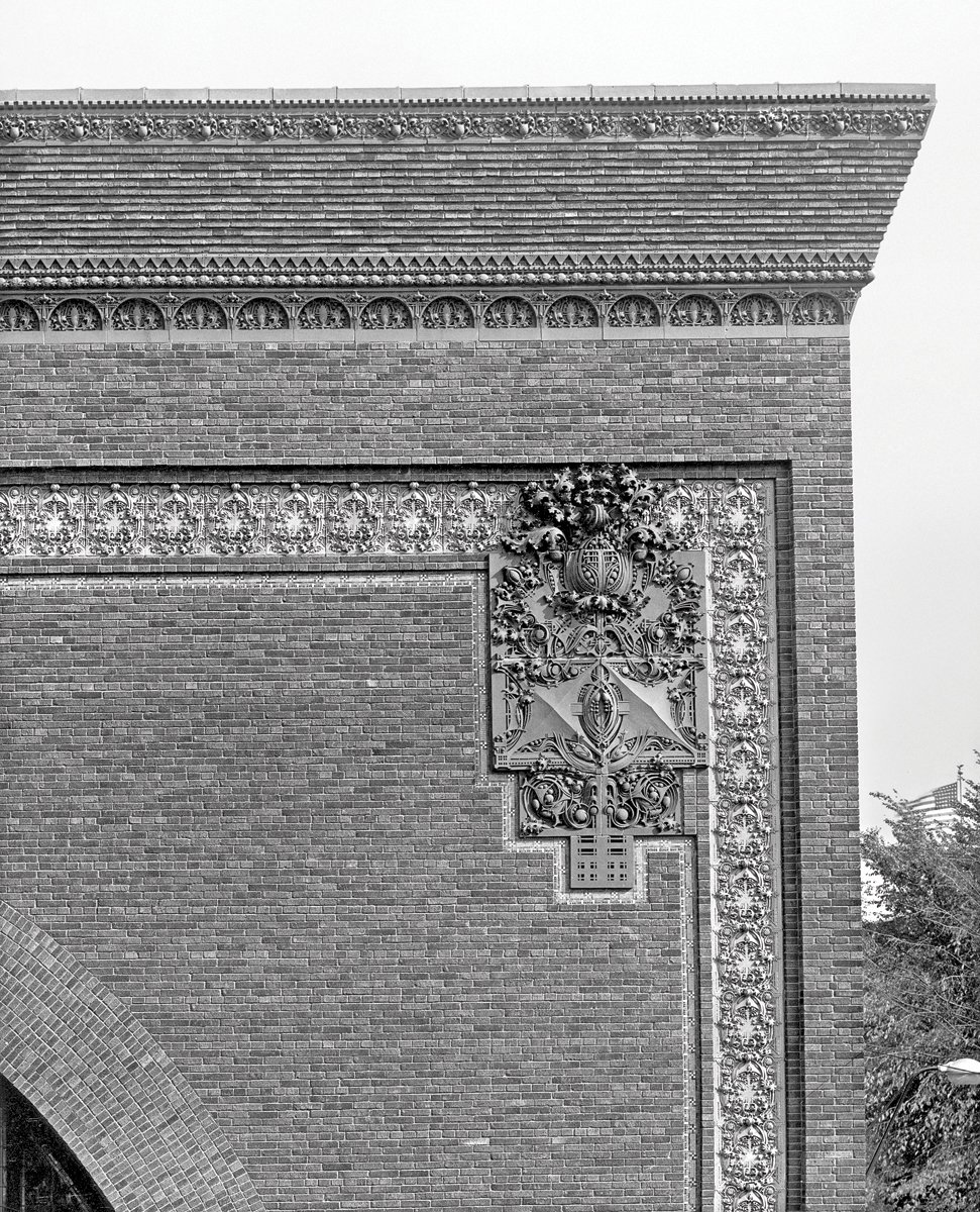 Detail of the cornice and exterior ornament on the National Farmers' Bank, Owatonna, Minnesota, built 1907-1908. Photo courtesy of The Richard Nickel Committee and Archive.  Photo 15 of 19 in The Architecture of Adler & Sullivan