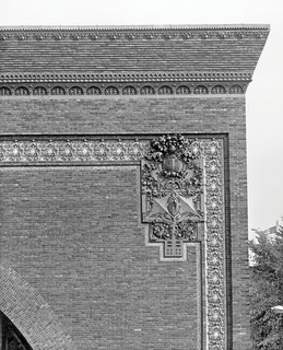 The Architecture of Adler & Sullivan - Photo 15 of 19 - Detail of the cornice and exterior ornament on the National Farmers' Bank, Owatonna, Minnesota, built 1907-1908. Photo courtesy of The Richard Nickel Committee and Archive.