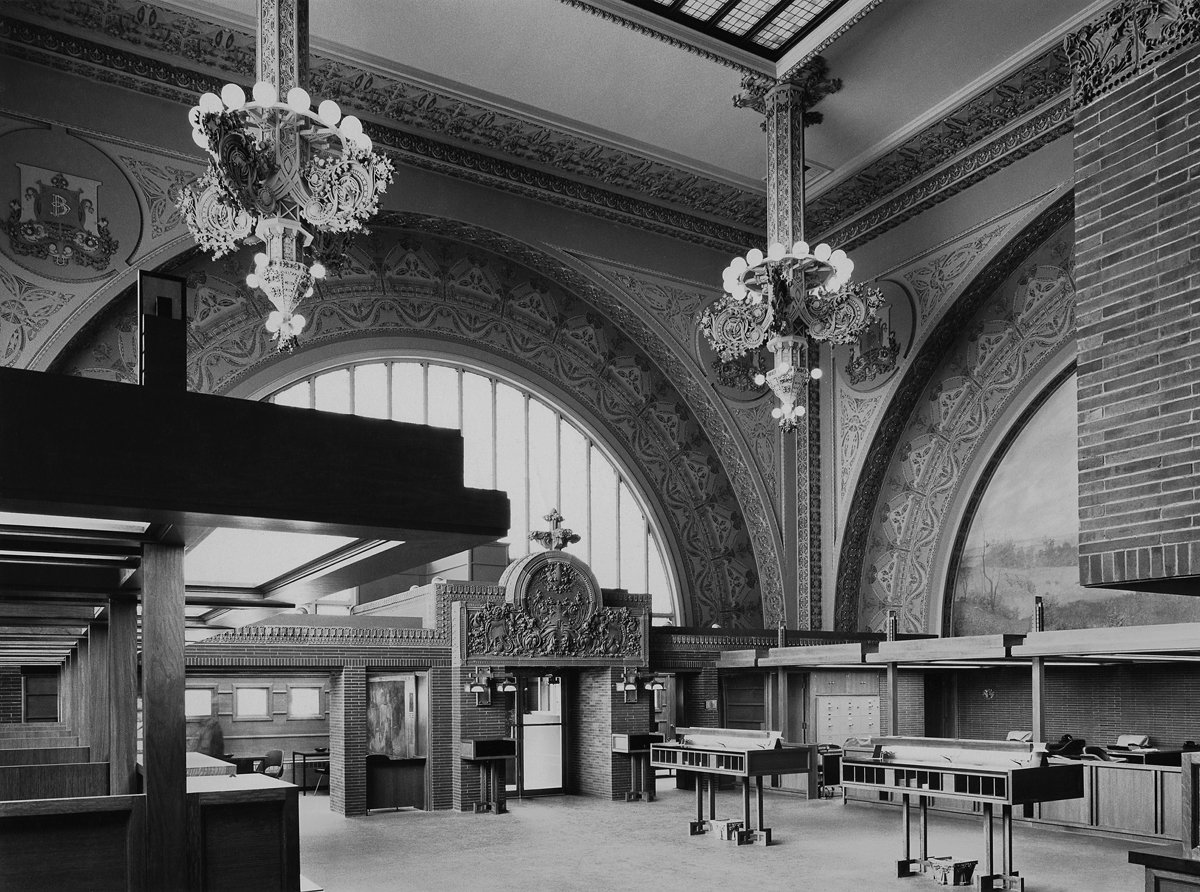Interior of the National Farmers' Bank, Owatonna, Minnesota, built 1907-1908. Photo courtesy of The Richard Nickel Committee and Archive.  Photo 16 of 19 in The Architecture of Adler & Sullivan