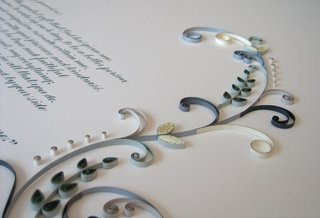 A quilled marriage certificate featured on All Things Paper.