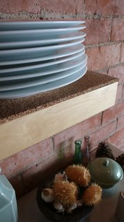Cork works well as a shelf liner or cushion in high-impact areas.