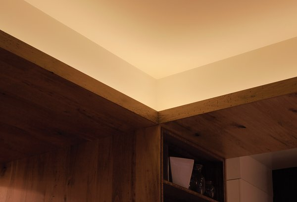 Adrian wanted to bring a theatrical glow to the loft without using recessed lights or cluttering up the space with lamps. He consulted lighting designer and friend Paul Whitaker and found that linear LED covelights could provide low-wattage illumination with little maintenance.  Photo 4 of 9 in In the Loop
