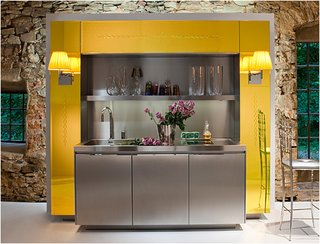 Bright and cheery, the Primary Kitchen combines the stainless steel of the Duality Kitchen and the color of the Library Kitchen.