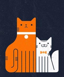 Illustrations of feline friends as seen on Meowdoodle.