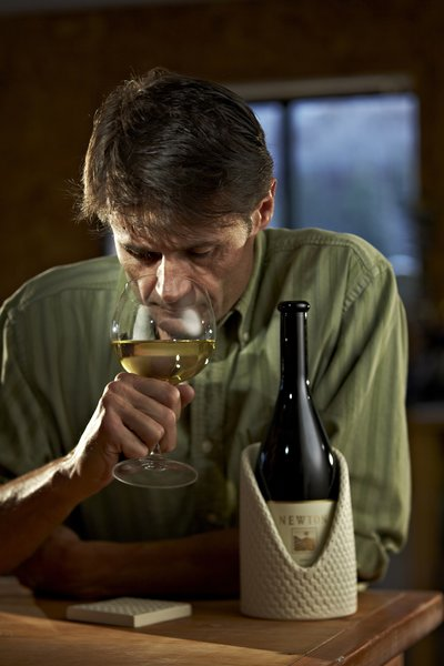 "When chilled to 55 degrees Fahrenheit, Wisner said, the taste of Newton Vineyard's Chardonnay ""explodes in your mouth."""