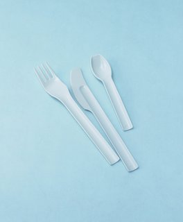 These plastic utensils were designed by Joe Colombo, one of Italy's most famous designers.