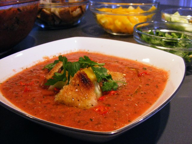 Photo 1 of 2 in Recipe: Gazpacho With Homemade Croutons