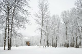Building the Maxon House: Week 5 - Photo 4 of 9 - Delta Shelter in the snow. Photo by Benjamin Benschneider.