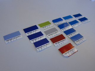 Color swatches were the starting point for the Kyle Blue rug.