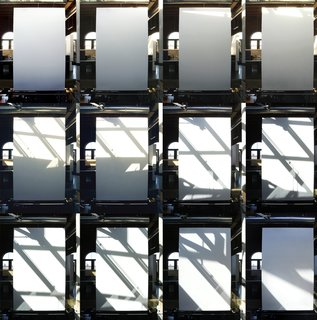 Time-lapse compilation showing how light plays across the white wall below the skylight, creating a sort of light sculpture. Photo by Tim Bies.