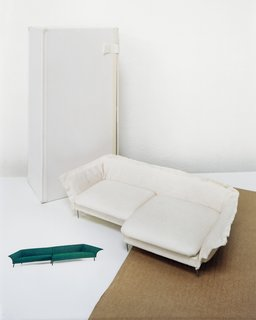 "Although Förster favors paper, she occasionally makes models out of fabric, including this foot-long, 2.9-inch-tall Grand sofa. ""I wanted it to have an improvised feeling, very casual and sexy looking,"" she says."