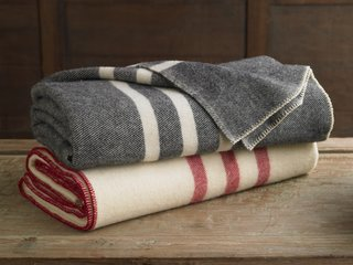 The Striped Wool Blanket is woven from dense, cozy wool, courtesy of Canadian sheep.