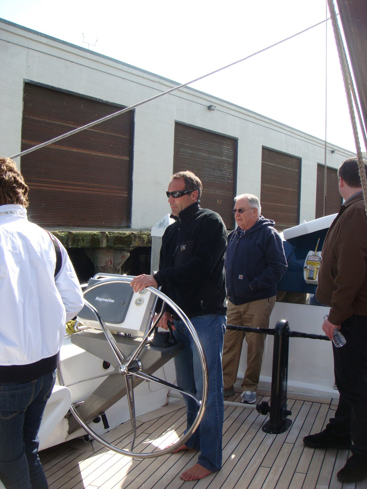 Here's Mike Horn at the helm, steering the 115-foot-long boat out of Pier 40, where it was docked. He's circumnavigated the globe five times and his crew of two others arrived in San Francisco from Japan, a harrowing journey as they were caught in the tsunami.  Photo 6 of 7 in Friday Finds 4.22.11