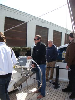 Here's Mike Horn at the helm, steering the 115-foot-long boat out of Pier 40, where it was docked. He's circumnavigated the globe five times and his crew of two others arrived in San Francisco from Japan, a harrowing journey as they were caught in the tsunami.
