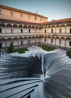 """Remembering Zaha Hadid - Photo 5 of 9 - Zaha Hadid Architects teamed with LEA Ceramiche to create """"Twirl,"""" a mesmerizing installation in the 18th-century courtyard of the State University in Milan. It was up for only a week and has since been disassembled, but since I just received some beautiful pictures of the piece I figured I'd share."""