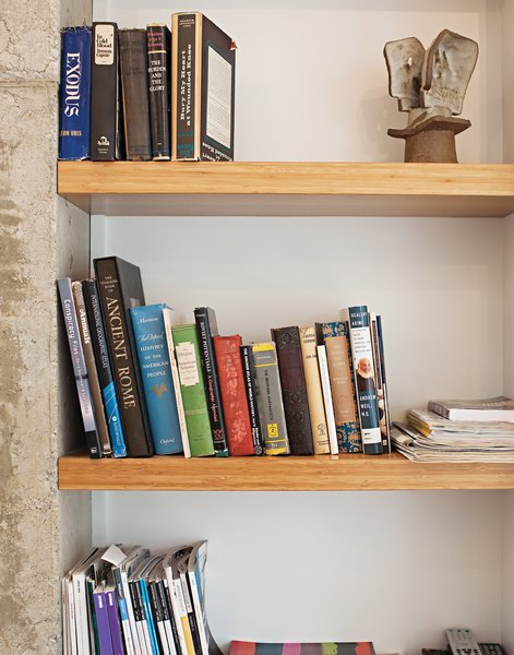 A close-up of the bookshelves made of MDF clad in bamboo veneer.  Photo 7 of 25 in Come Sail Away