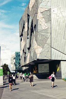Exploring Melbourne, Australia - Photo 8 of 25 - Federation Square, a giant public plaza on the banks of the Yarra, manages to be both very high public design and a space where Melbourne actually gathers. The complex of buildings, by LAB Architecture, was the firm's first built work.