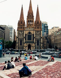 Exploring Melbourne, Australia - Photo 16 of 25 - A fine bit of Gothic revival architecture, William Butterfield's St. Paul's Cathedral is seen here from Federation Square just across the street.