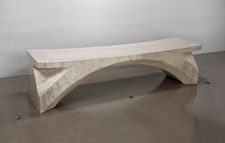 The Spirit bench is carved from one five-and-a-half foot long piece of marble and weighs in at 950 pounds.