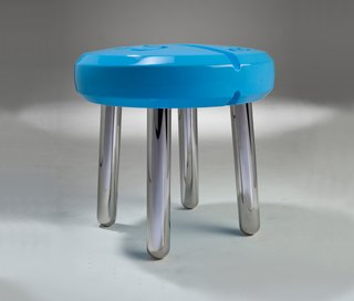 A pill shaped stool represents China's diminishing lack of connection to their environment using the influx of modern pharmaceuticals as a metaphor. A generation ago, the only medical treatments were traditional Chinese medicine consisting of natural ingredients, but now there is an overwhelming pharmaceutical industry.