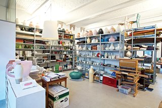 Although Jongerius insists she had a major clear-out before leaving Rotterdam, her studio in Berlin is as packed as ever. Note the Ikea PS Jonsberg vases on the top row of shelves, each made using a different ceramic technique, with ornamentation inspired by different parts of the world.