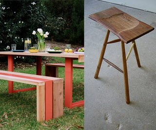 Scout Regalia's White Oak Table Set and Sam Moyer's Three-Legged Stool.