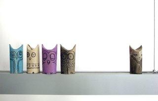 TP rolls cum owls and cats as seen on El Hada de Papel.