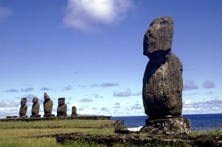 Easter Island is most famous for the hundreds of large carved monolithic statues, known as moai, that were created to represent ancestors by the Rapa Nui people from approximately the ninth to the seventeenth centuries AD.