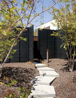 """A gently winding set of exposed aggregate concrete pads leads to the Wabi House's front door. Mariscal sought to """"hide the house behind a dense forest front yard."""" As the crape myrtles grow in, they will further filter the home's facade."""