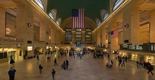 "Here's the bustling work ""New York Grand Central Station."""