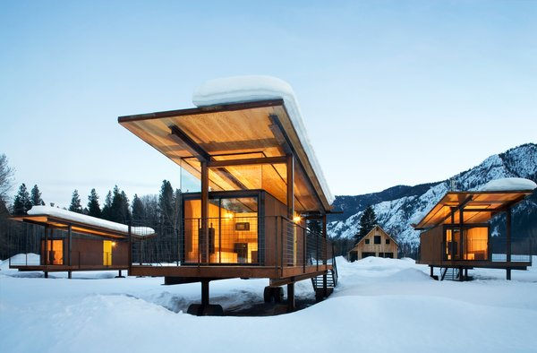 Exterior, Cabin Building Type, Metal Siding Material, Shed RoofLine, and Glass Siding Material A Rolling Hut. Photo by Tim Bies, Olson Kundig Architects.  Photo 80 of 101 in 101 Best Modern Cabins from Building the Maxon House: Week 24