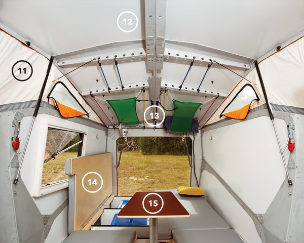 While the front, kitchen-end of the camper is all action, the back half is about rest and relaxation. The benches hide storage space beneath and, at night, become the sleeping area (14). The multiheight table (15) serves as an eating spot when in its highest position and as extra sleeping space when lowered and covered with a cushion. The table and its post can also be completly removed for additional legroom. The mesh-lined windows in the tent enclosure (11) bring in light and encourage ventilation. The LED reading lights (13) can be set to white or red (the latter keeps your eyes from dilating so you can run outside at a moment's notice and catch a glimpse of a shooting star without waiting for your eyes to adjust). The laser-cut aluminum frame (12) features circular openings that make hanging sleeping bags, pillows, blankets, and luggage as easy as stretching and hooking elastic cords into place.
