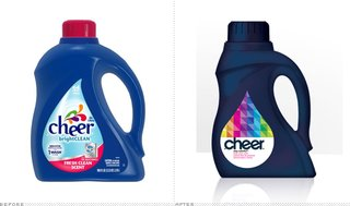 The new Cheer packaging (right) earned a seal of approval from the critics at Brand New.