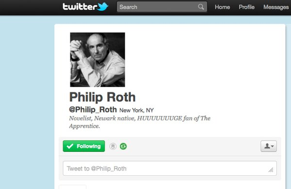"""According to Philip Roth's twitter, he's a """"Novelist, Newark Native, HUUUUUUUUUGE fan of The Apprentice."""""""