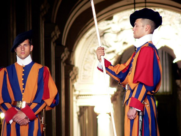 The Swiss Guard decked out in decorative garb at The Vatican.