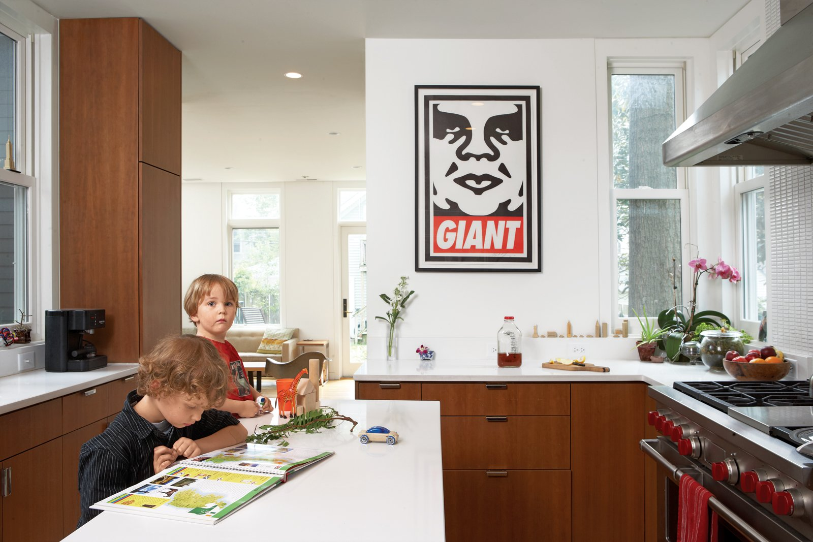 """Kitchen, Wood Cabinet, and Range The cherry veneer cabinets carry into the streamlined kitchen where a Shepard Fairey print and a range by Wolf take pride of place. """"We tried to make sure that all the wood used in the project looked seamless and uniform,"""" says de Leon. """"Wood was the only 'color' we introduced.""""  Photo 5 of 5 in Modern Addition in Louisville"""