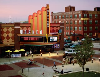 Wichita's OldTown Theatre Grill where you can eat dinner while watching a movie.